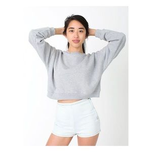 American Apparel Grey Fleeced Crop Sweatshirt